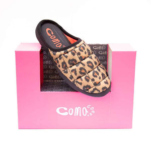 Comatoes TOKYOES Ladies Taupe Animal Print Mule Slippers