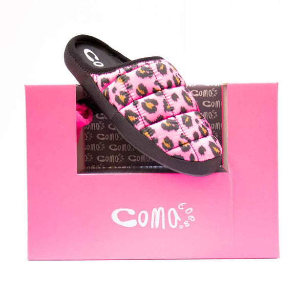 Comatoes TOKYOES Ladies Pink Animal Print Mule Slipper
