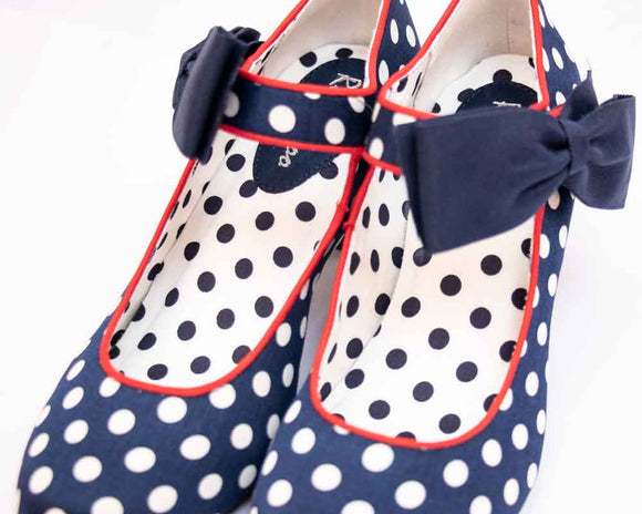 Ruby Shoo TRIXIE Ladies Kitten Heel Dotty Shoes