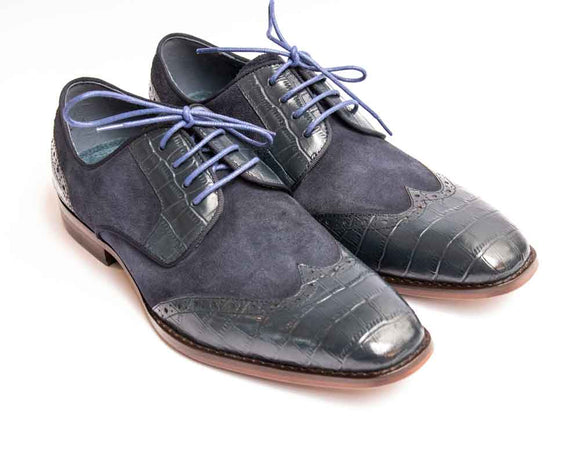 Justin Reece TYLER Mens Navy Moc Croc and Suede Mix Shoe
