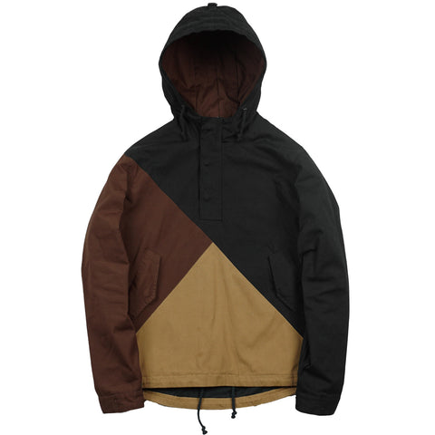 3 Tone Pullover Parka - Wine/Duck Brown/Black