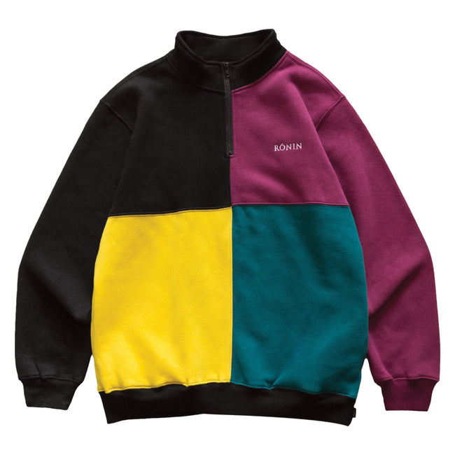 Color Block Quarter Zip - Black/Multi