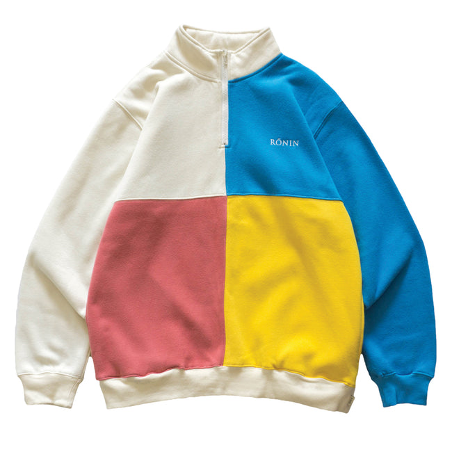 Color Block Quarter Zip - Cream/Multi