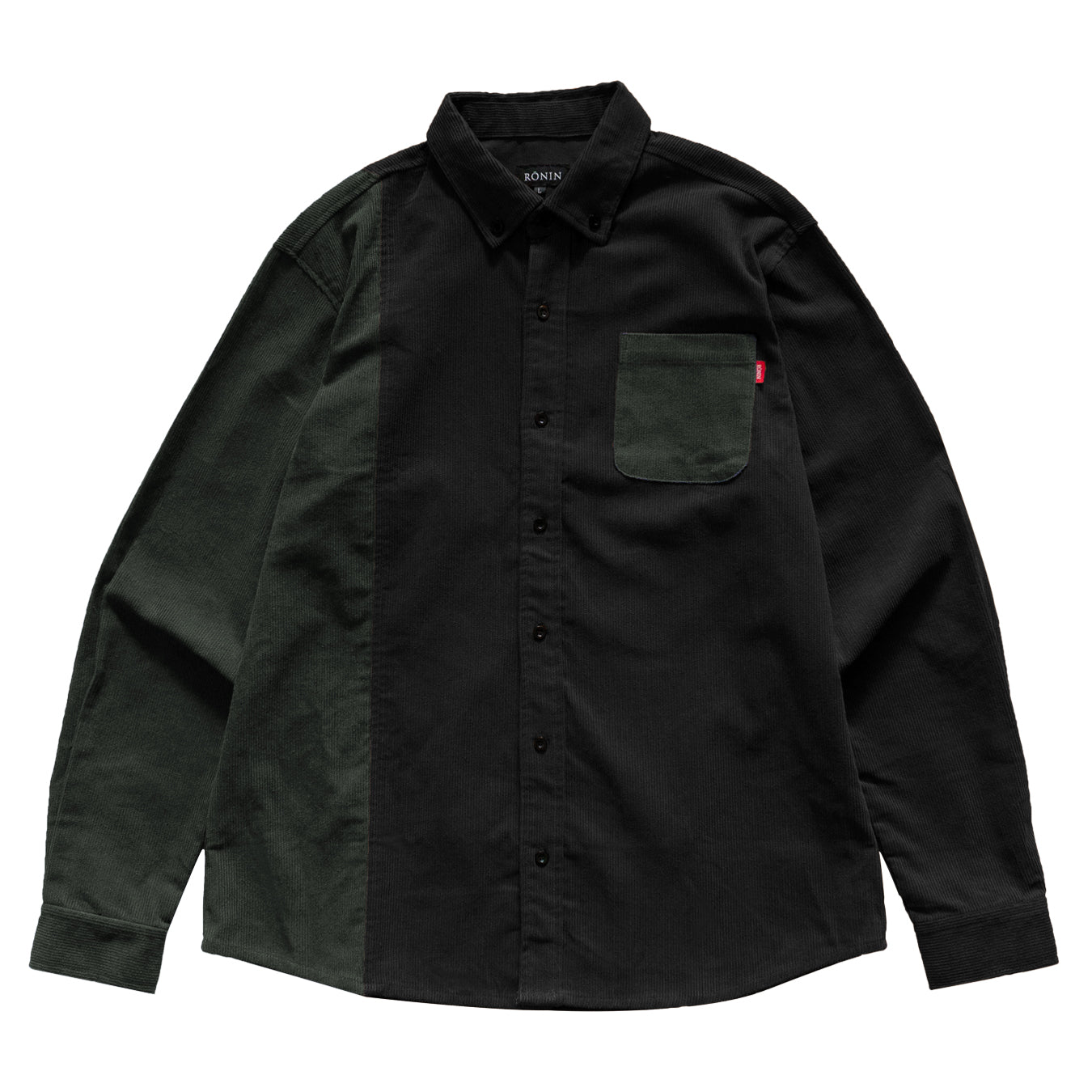 Corduroy Shirt - Muted Olive/Black