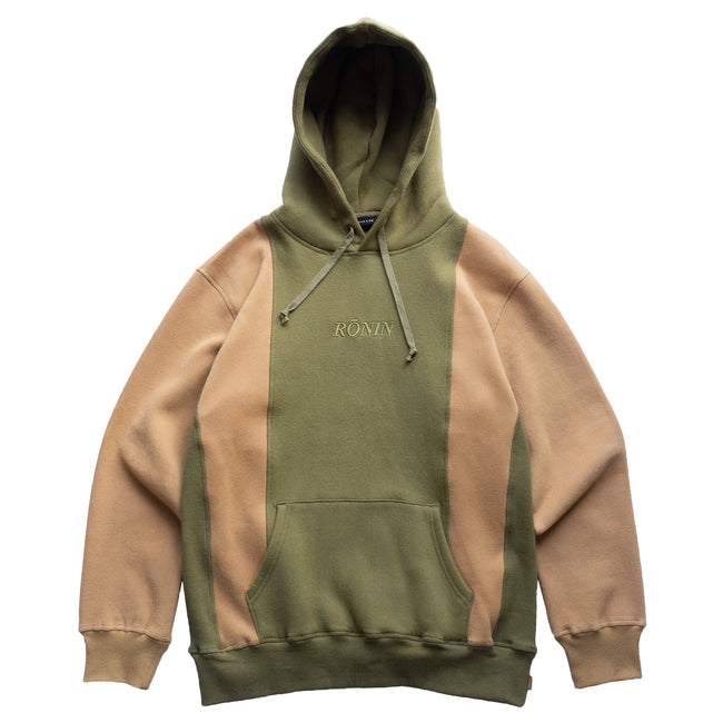Double Panel Hoodie - Olive/Tan