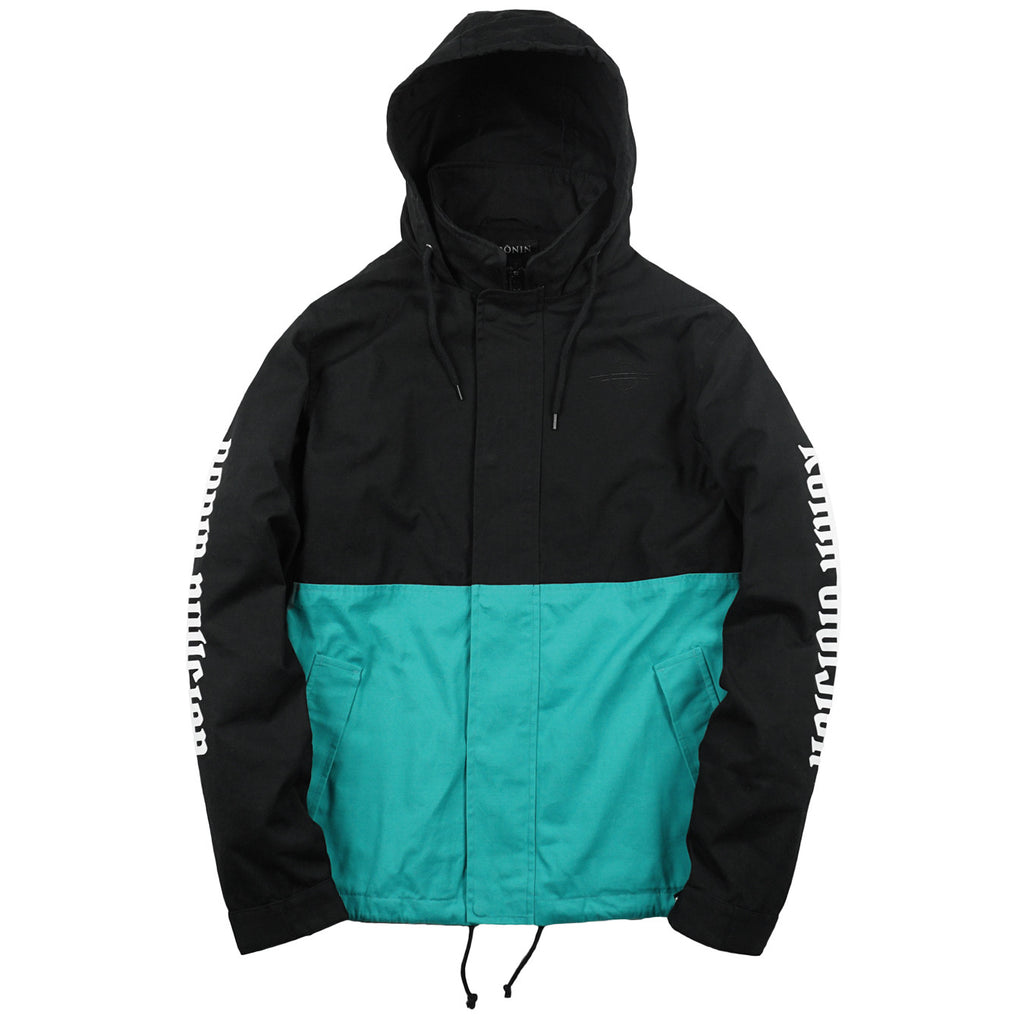 Split Tone Parka - Black | Teal
