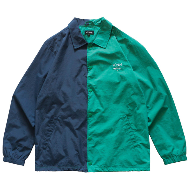 Split Logo Coach Jacket- Teal/Navy