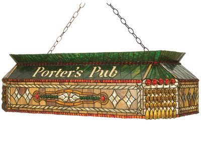 "Meyda Lighting 102894 40""L Personalized Porter's Pub Oblong Pendant"