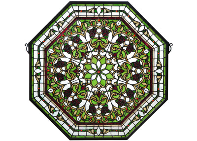 "Meyda Lighting 107223 25""W X 25""H Floral Stained Glass Window"