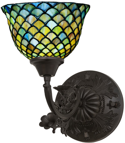 "Meyda Lighting 109518 8""W Tiffany Fishscale Wall Sconce"
