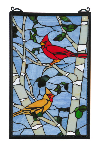 "Meyda Lighting 119436 13""W X 10""H Cardinals Morning Stained Glass Window"