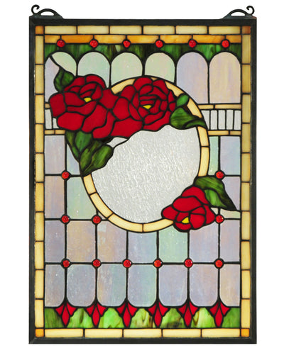 "Meyda Lighting 119443 14""W X 20""H Morgan Rose Stained Glass Window"