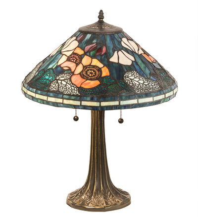 "Meyda Lighting 119554 21.5""H Tiffany Poppy Cone Table Lamp"