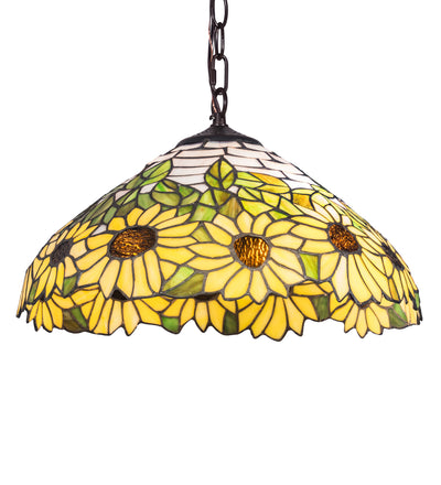 "Meyda Lighting 119560 16"" Wide Wild Sunflower Pendant"