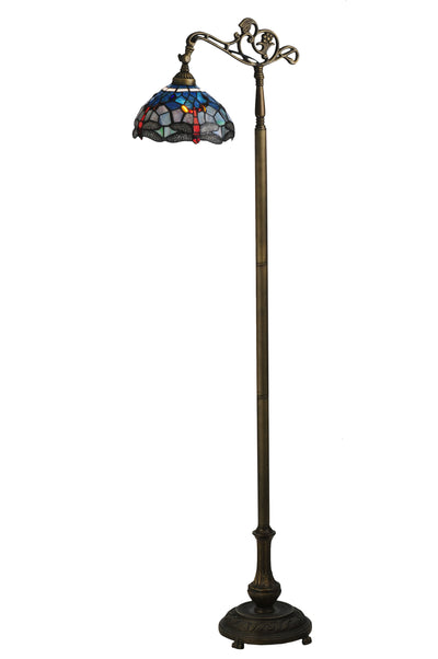 "Meyda Lighting 119648 60.5""H Tiffany Hanginghead Dragonfly Bridge Arm Floor Lamp"