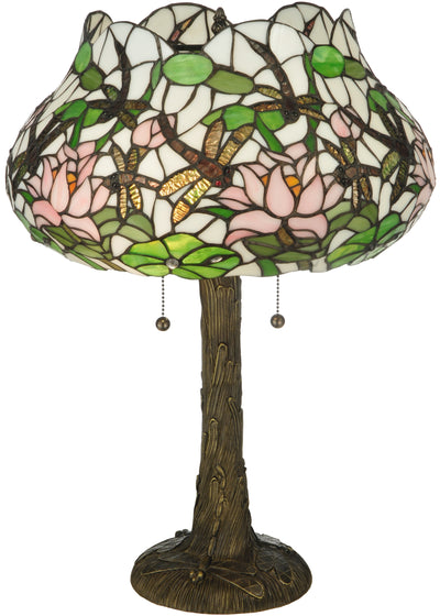 "Meyda Lighting 125091 22.5""H Dragonfly Flower Table Lamp"
