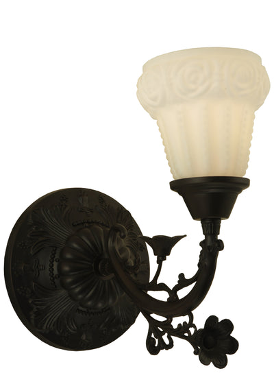 "Meyda Lighting 126018 7""W White Puffy Rose Wall Sconce"