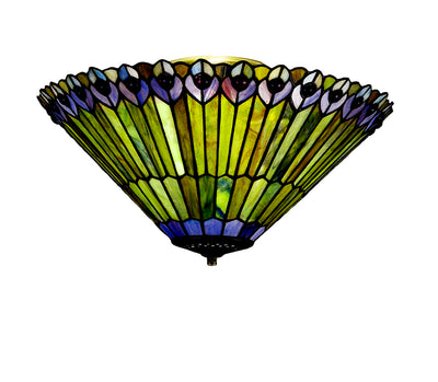 "Meyda Lighting 13251 17""W Tiffany Jeweled Peacock Fan Light Fixture"