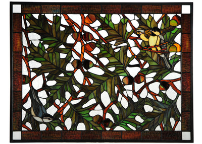 "Meyda Lighting 134346 27""W X 21""H Backyard Friends Stained Glass Window"
