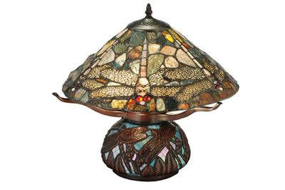 "Meyda Lighting 138103 16.5""H Dragonfly Cut Agata Table Lamp"