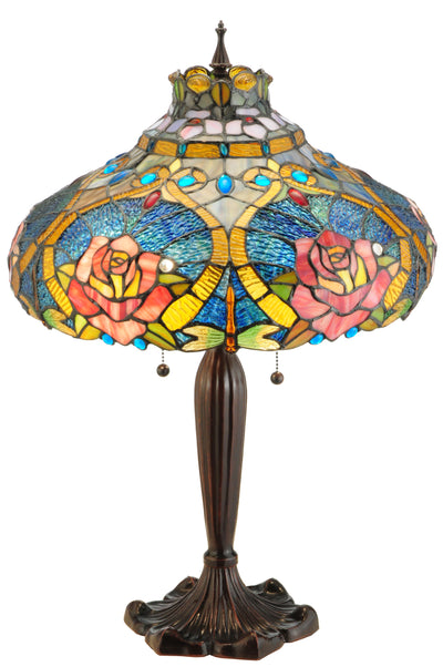 "Meyda Lighting 138108 26""H Dragonfly Rose Table Lamp"