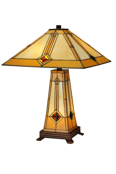 "Meyda Lighting 138111 23""H Diamond Mission Lighted Base Table Lamp"