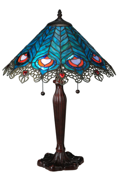 "Meyda Lighting 138775 23""H Peacock Feather Lace Table Lamp"