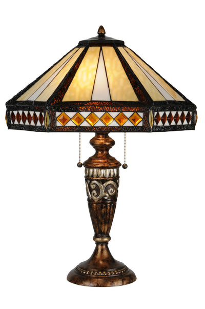 "Meyda Lighting 139416 26.5""H Diamond Band Mission Table Lamp"