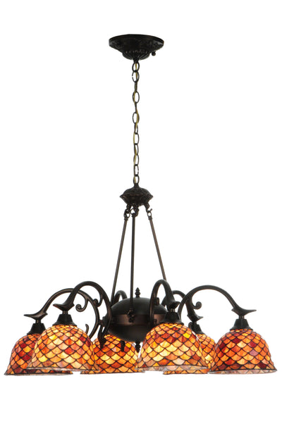 "Meyda Lighting 140489 32.5""W Tiffany Fishscale 6 LT Chandelier"