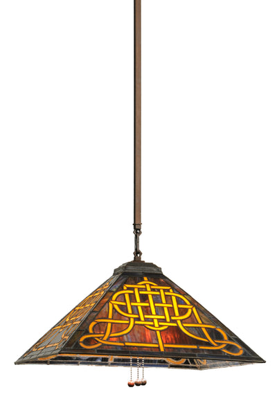 "Meyda Lighting 149886 17""Sq Knotwork Mission Pendant"
