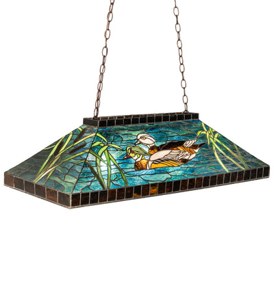 "Meyda Lighting 17249 39"" Long Wood Ducks Oblong Pendant"