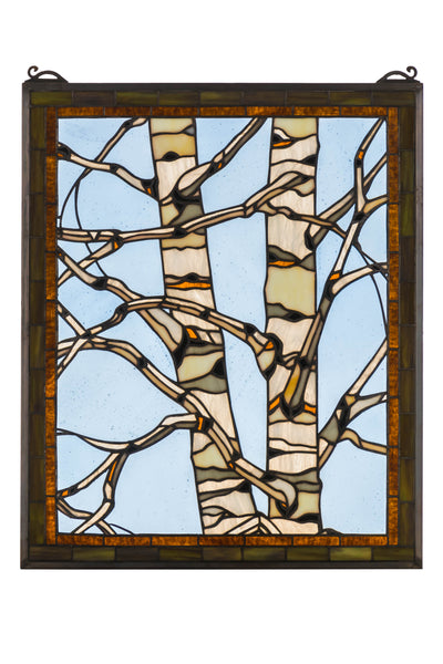 "Meyda-Lighting-175993-24""W-X-19""H-Birch-Tree-in-Winter-Stained-Glass-Window"