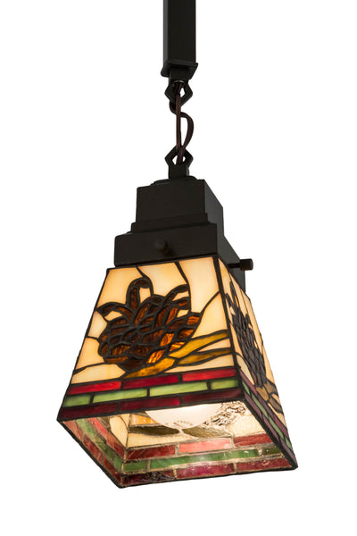"Meyda Lighting 183026 5""Sq Pinecone Mission Mini Pendant"