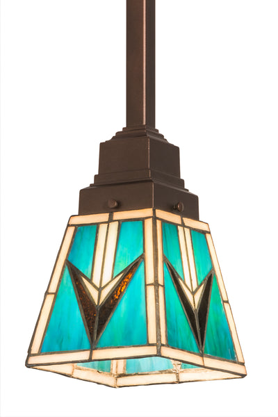 "Meyda Lighting 187890 5""Sq Valencia Mission Mini Pendant"