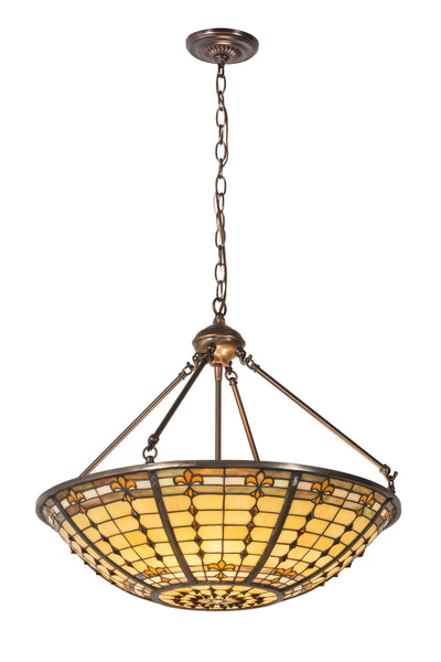 "Meyda Lighting 187942 24""W Fleur de Lite Inverted Pendant"