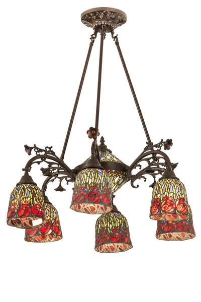 "Meyda Lighting 189344 28""W Red Rosebud 6 Arm Semi Flushmount"