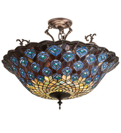 "Meyda Lighting 197238 24"" Wide Peacock Feather Semi Flushmount"