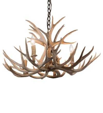 "Meyda Lighting 200455 30"" Wide Antlers Mule Deer 4 LT Chandelier"
