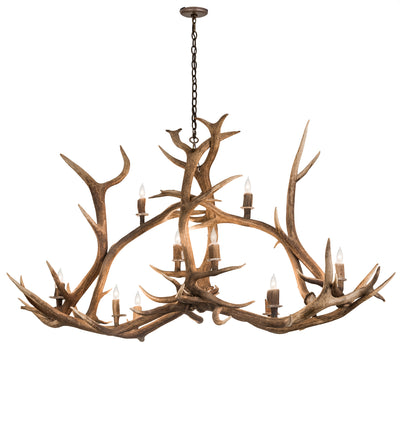 "Meyda Lighting 200466 70"" Long Antlers Elk 10 LT Oblong Chandelier"