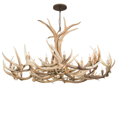 "Meyda Lighting 212267 84"" Wide Antlers Elk & Mule Deer 18 Light Chandelier"
