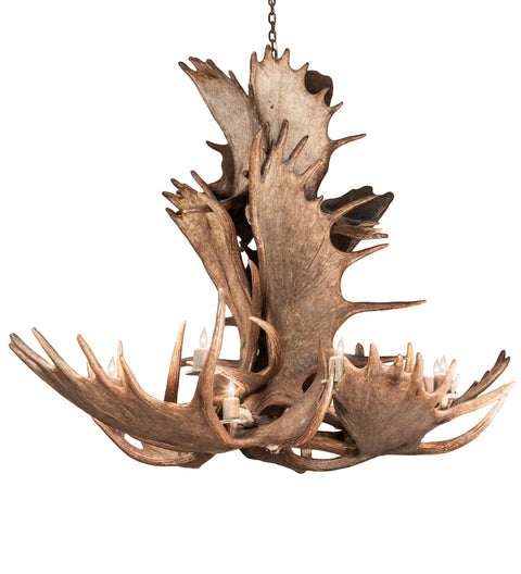 "Meyda Lighting 212269 64"" Wide Antlers Moose 12 Light Chandelier"