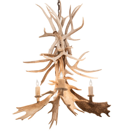 "Meyda Lighting 212272 28"" Wide Antlers Whitetail Deer 4 Light Chandelier"