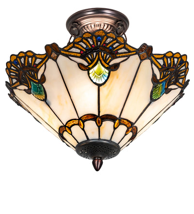 "Meyda Lighting 218495 16"" Wide Shell with Jewels Semi Flushmount"