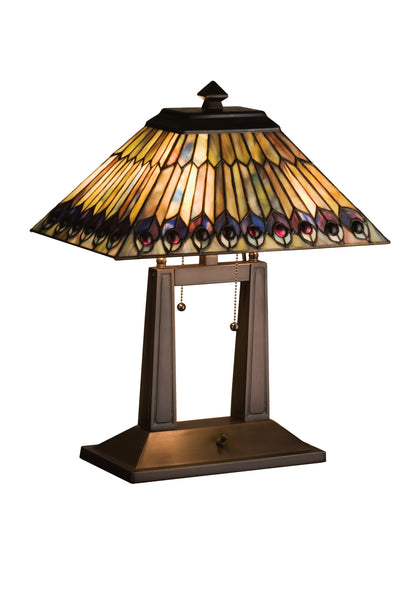 "Meyda Lighting 26300 20""H Tiffany Jeweled Peacock Oblong Desk Lamp"