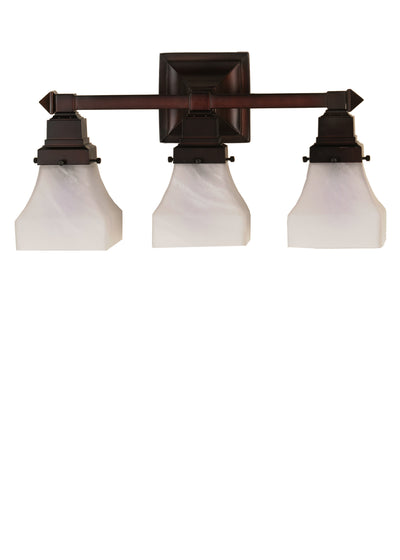 "Meyda Lighting 26310 18""W Bungalow White Alabaster Swirl 3 LT Vanity Light"