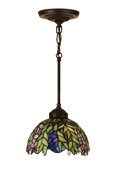 "Meyda Lighting 48922 8""W Tiffany Honey Locust Mini Pendant"