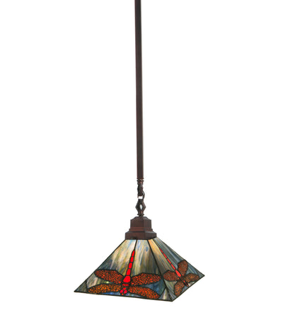 "Meyda Lighting 49104 10""Sq Prairie Dragonfly Pendant"