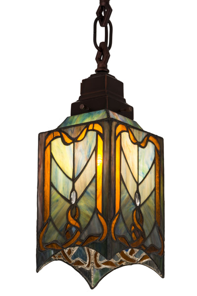 "Meyda Lighting 49125 5.5""Sq Cottage Mission Mini Pendant"
