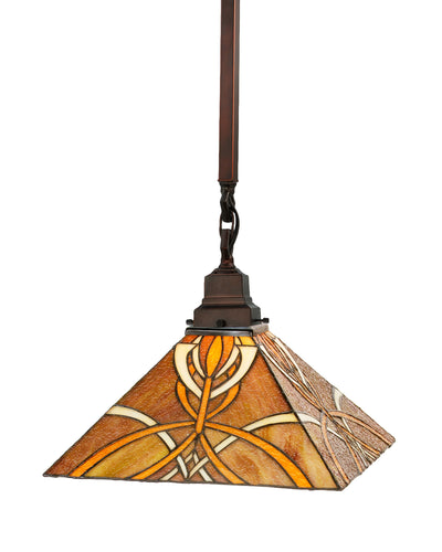 "Meyda Lighting 49149 13""Sq Glasgow Bungalow Pendant.609"