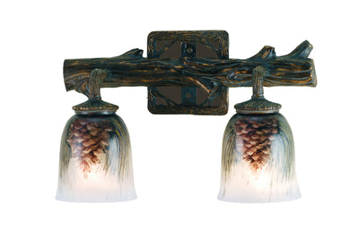 "Meyda Lighting 49521 16"" Wide Pinecone 2 Light Hand Painted Wall Sconce"